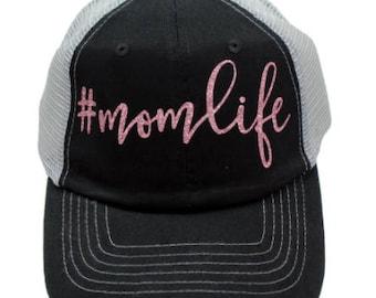 Mom Life Black Mesh Back Rose Gold Glitter Hat #MomLife