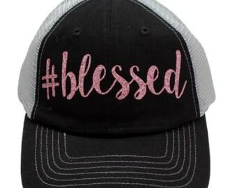 Blesses Black Mesh Back Rose Gold Glitter Hat #Blessed