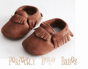 Toast Tan Baby Suede Leather Moccasins