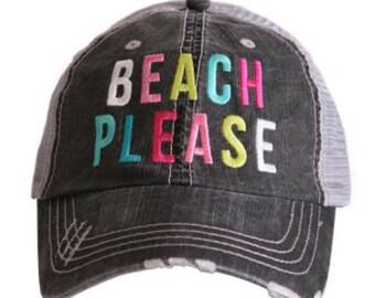 Beach Please Distressed Hat