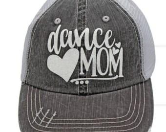 Dance Mom White Grey Distressed Hat