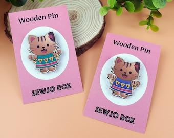 Wooden maker cat pin badge
