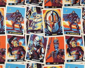 Star Wars Mandalorian Trading cards fabric 100% Cotton Fat quarter, 3/4 Metre, Half metre, Metres