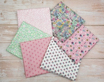 Fat quarters x 6 Liberty Of London Tea For Two Cotton quilting sewing fabric