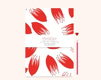 Notebook / sketchbook A6 red flowers