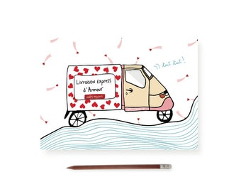 """Postcard """"Express shipping with love"""""""