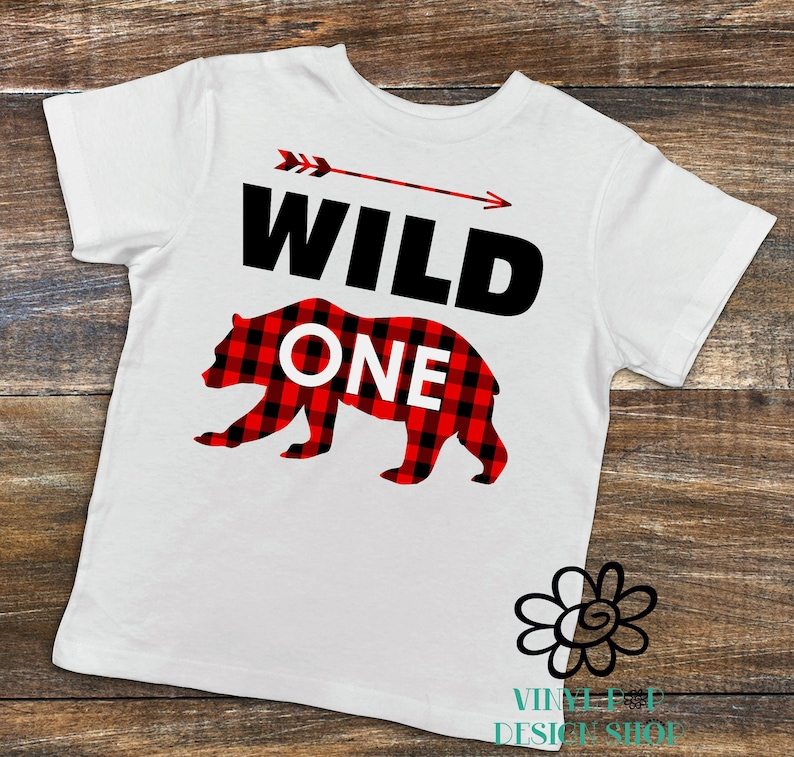 Wild One Birthday Shirt Bear Boys 1st