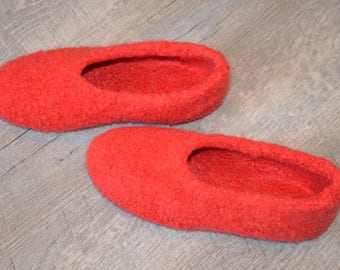 Gr. 33/34 (length 21 cm): felted slippers with LaTeX sole / felt slippers with LaTeX sole