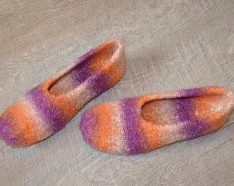 Gr. 36/37 (length 23 cm): felted slippers with LaTeX sole / felt slippers with LaTeX sole