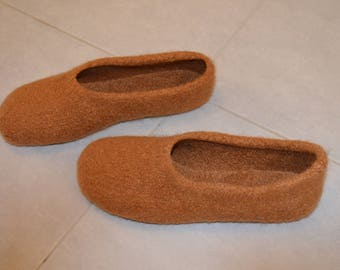 Gr. 46/47 (length 30 cm): felt House shoes with LaTeX sole / felted slippers with LaTeX sole