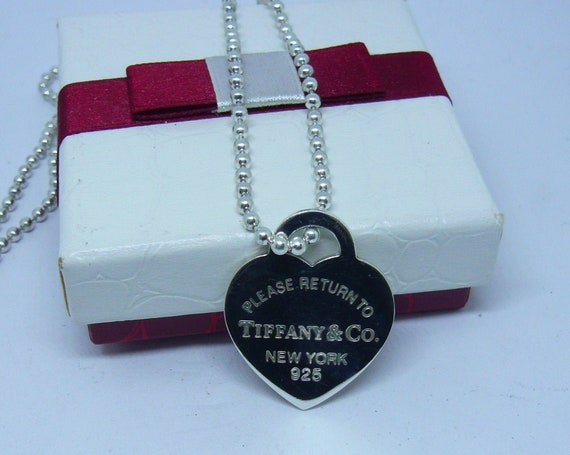 sterling-silver-heart-tag-necklace-tiffany-&-co-please-return-to-tiffany-large-in-argento-cuore by etsy