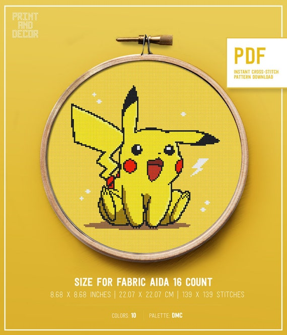 Cross stitch pokemon pattern counted modern cute easy pikachu cross stitch design for beginners for kids home wall decor DIY This is DIGITAL PDF item.
