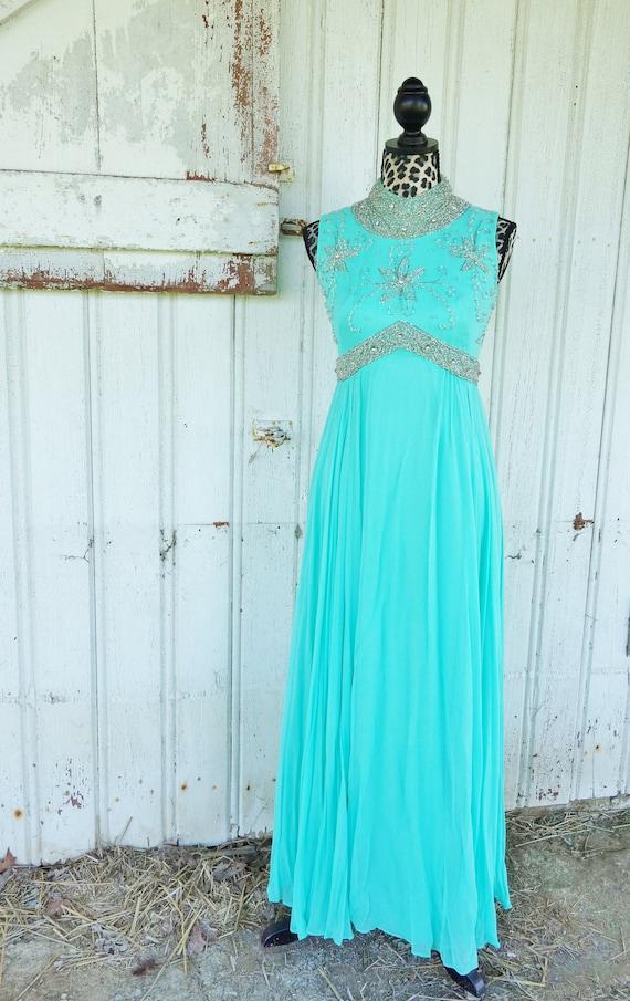Vintage 1960s Aquamarine Beaded Evening Gown