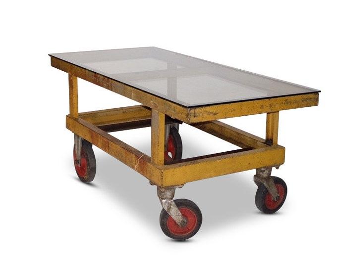 Industrial Cart on Wheels w/ Glass Top