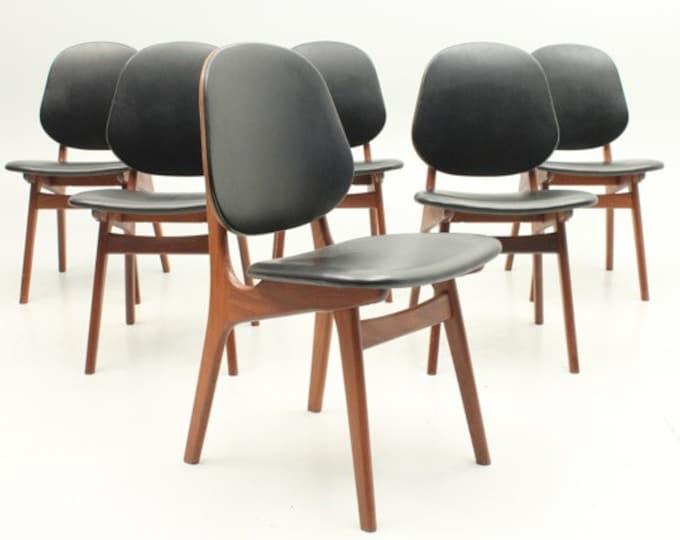 Danish Mid-Century Modern teak dining chairs by A. Hovmand-Olsen, Denmark(set of 6)