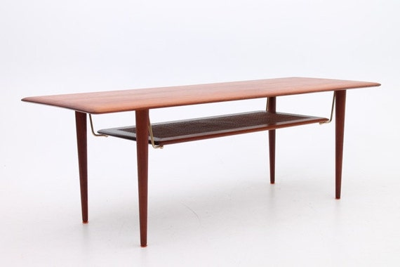 Danish Mid Century Modern Coffee Table In Solid Teak By Hvidt Etsy
