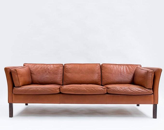 Danish Modern Leather 3-seater Børge Mogensen Style Sofa