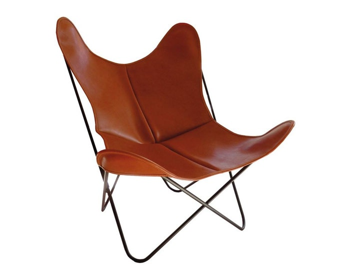Butterfly Chair - Leather/Black Frame