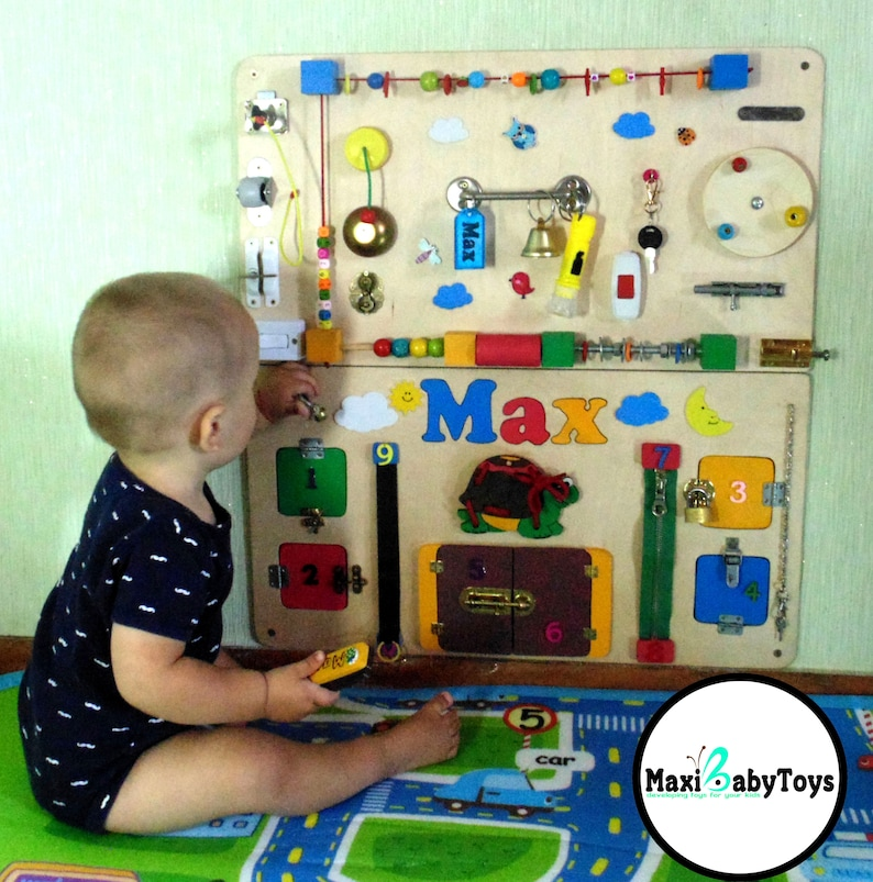 Personalized Busy Board Toddler Montessori Toy Baby Sensory Etsy