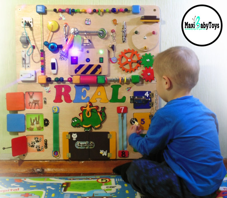 Personalized Busy Board Toddler Activity Board Baby Sensory Etsy