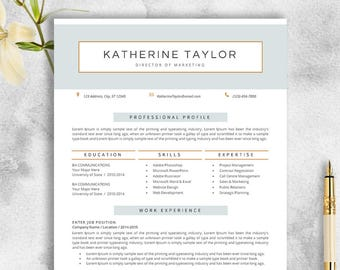 Professional Resume Template CV For MS Word Creative Modern Design Instant Download