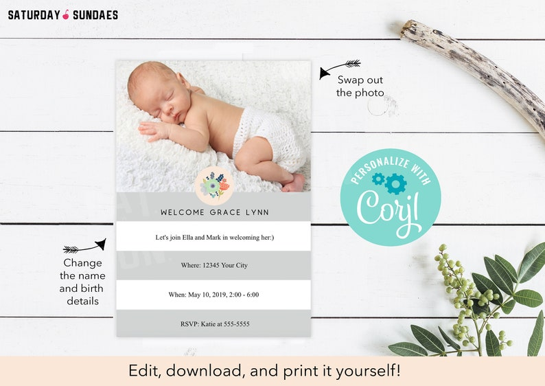Birth Announcement Template Printable