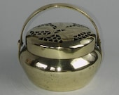 Vintage Chinese Engraved Pierced Brass Hand Warmer - Circa 1920 39 s Hinged Handle Chinese Censer Brass Cricket Cage Made In China Mark