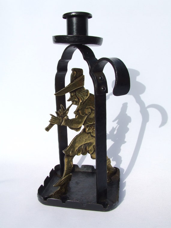 Antique Goberg German Arts & Crafts Pied Piper Figural Brass and Steel Candlestick c1900 Hammered Steel Chamberstick German Saxony Folklore