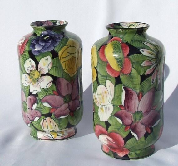 Pair Rare Antique Art Deco Chintz Pottery Vases By Thomas Till Etsy