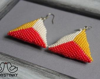 Monochrome beaded earrings Modern earrings Triangular earrings Seed bead earrings Dangle earrings Boho earrings Chandelier earrings Beadwork