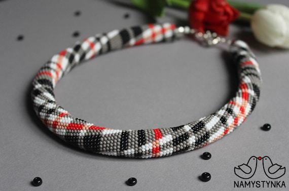 Grаy Tartan Kette häkeln Perlen Halskette Tartan Muster Modern | Etsy