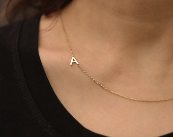 Solid gold necklace initials with rubis and black Diamonds initial necklace letterscharm initial unique gift,