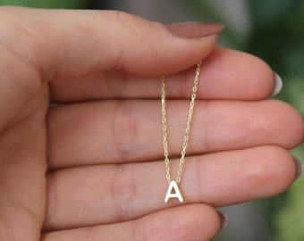 Tiny Initial Necklace Personalized Letter Necklace,Personalized Necklace,Bridesmaid Gift,JX34
