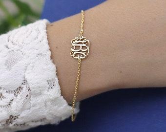 Initial Bracelet-Letter Bracelet-Monogram Bracelet-Bridesmaid Gift-Personalized Bracelet-Personalized Jewelry-Gift For Her-JX14