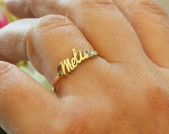 Gold Name Ring,Personalized Name Ring,Custom Stacking Name Ring,Birthday Gift,Gift For Mom,JX10