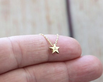 Tiny Gold Star Necklace-Star Necklace-Star Jewelry-Personalized Star Necklace-Gold Necklace-Gold Jewelry-Bridesmaid Gift-Gradiation Gift
