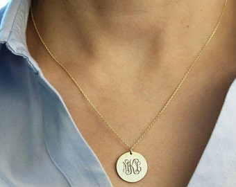 Personalized Disc Necklace-Gold Monogram Necklace-Gold Initial Disc Necklace -Jewelry-Necklaces-Engraved Disc Necklace-Mother's Day Gift