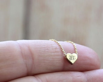 Tiny Monogram Necklace-Heart Necklace-Personalized-Gold-Monogram Necklace-Personalized Heart Necklace-İnitial Necklace-Monogram Jewelry