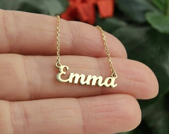 Real gold name necklace 14k gold custom name necklace 14k name pendant gold name jewelry 20th birthday gift for her