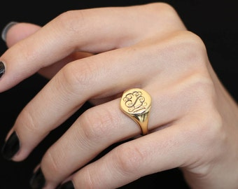 10k Signet Ring Gold  Ring Personalized Engraved Ring Gift For Her Monogram Rings Bridesmaid Gift Personalized Gift Monogram-Ring-Jewelry