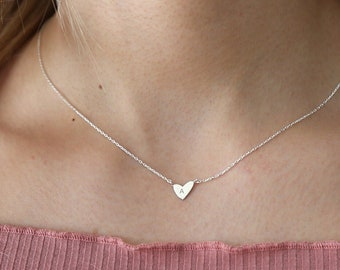Tiny Initial Heart Necklace,Custom Initial Necklace in Sterling Silver,Gold and Rose Gold Necklace,Personalized Jewelry,JX35