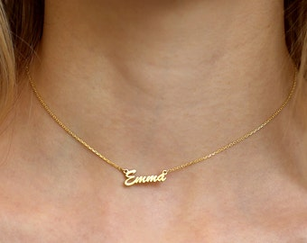 Tiny Gold Choker Necklace-Name Necklace-Name Jewelry-Gold Name Necklace-Personalized Necklace-Bridesmaid Jewelry-Personalized Jewelry-Gift