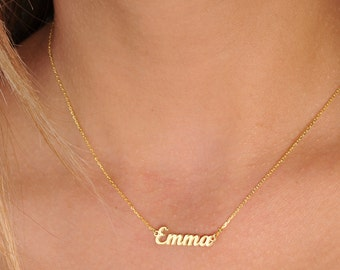 Tiny Gold Name Necklace-Personalized Necklace-Name Necklace-Custom Name Necklace-Name Jewelry-Personalized Name Plate Jewelry-Bridesmaid