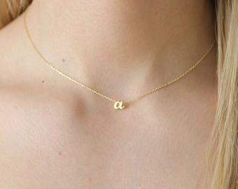 Gold Lowercase Initial Necklace,Sterling Silver Lowercase Letter Necklace,Personalized Initial Necklace,JX33