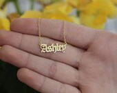 Old English Name Necklace-Gold Name Necklace-Gothic Mini Name Nameplate Necklace-Gothic Name Necklace-Initial Necklace-JX15