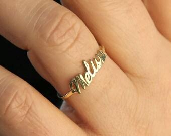 Gold Name Ring Etsy