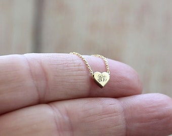 Mini Initial Necklace, Dainty Initial Necklace,Small Letter Necklace,Gold Fill, Sterling Silver Personalized Necklace,Heart Necklace