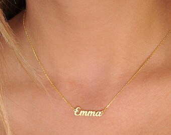 Tiny Name Necklace-Gold Name Necklace-Personalized Jewelry-Name Jewelry-Gift•Bridesmaids Jewelry.-Gold Jewelry-Jewelry-Personalized Necklace