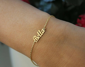 14k Solid Gold Name Bracelet-İnitial Bracelet-Letter Bracelets-Customized Bracelet-Personalized Gift-JX11