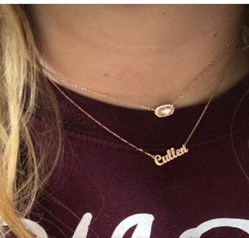 1d714a0c2fdd0 14k Solid Tiny Gold Name Necklace-Personalized Necklace-Name Necklace-Name  Necklaces-Name Jewelry-Personalized Name Plate Jewelry